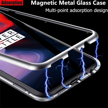 Магнитный чехол Luphie с задней стеклянной панелью для смартфона OnePlus 6T, противоударный бампер, рама из магналия, сплав алюминия и магния, задняя панель из закалённого стекла, бронированное стекло, соединяются магнитами, 9H, не влияет на качество приёма / передачи сигнала, не мешает беспроводной зарядке, чёрный, серебряный, красный, Киев