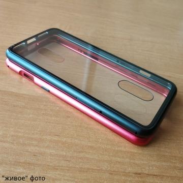 Магнитный чехол Luphie с задней стеклянной панелью для смартфона OnePlus 7, противоударный бампер, рама из магналия, сплав алюминия и магния, задняя панель из закалённого стекла, бронированное стекло, соединяются магнитами, 9H, не влияет на качество приёма / передачи сигнала, не мешает беспроводной зарядке, чёрный, синий, красный, Киев