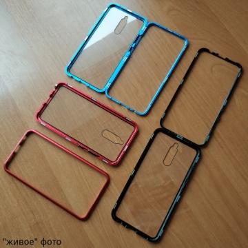 Магнитный чехол Luphie с задней стеклянной панелью для смартфона Xiaomi Redmi 8, противоударный бампер, рама из магналия, сплав алюминия и магния, задняя панель из закалённого стекла, бронированное стекло, соединяются магнитами, 9H, не влияет на качество приёма / передачи сигнала, не мешает беспроводной зарядке, чёрный, синий, красный, Киев
