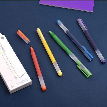 Набор гелевых ручек Xiaomi Colorful Gel Pen (5 шт.), модель MJBWB03WC, быстросохнущие чернила, не оставляют клякс, пишет до 4-х раз дольше обычной гелевой ручки, толщина наконечника: 0,5 мм, наконечник обработан на станке компании MIKRON (Швейцария), наконечник подпружинен, нет протечки чернил, синий, фиолетовый, зелёный, жёлтый, оранжевый, Киев