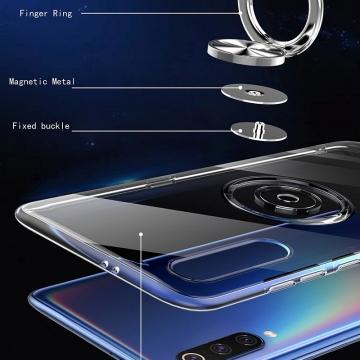 Прозрачный чехол-накладка с магнитным кольцом для Xiaomi Mi9 SE, противоударный бампер, термополиуретан TPU, дополнительная защита углов смартфона «воздушными подушками», накладки на кнопки регулировки громкости и включения / выключения, кольцо для пальца, кольцо-подставка для просмотре видео, магнитное кольцо крепится к автомобильным магнитным держателям, прозрачный, прозрачный с чёрным оттенком, прозрачный с синим оттенком, прозрачный с красным оттенком, Киев