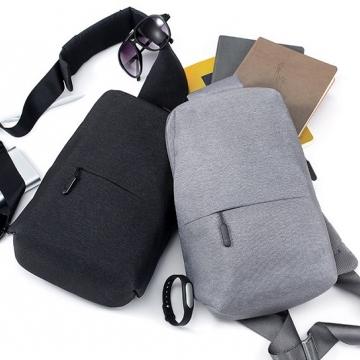 """Рюкзак Xiaomi Mi Multi-functional Urban Leisure Chest Bag, водоотталкивающий полиэстер, удобные ремень, рюкзак можно носить как спереди, так и сзади, 1 внешний и 3 внутренних кармана, застёжки-молнии, логотип """"Mi"""" на застёжках, объём 4 л, тёмно-серый, Киев"""