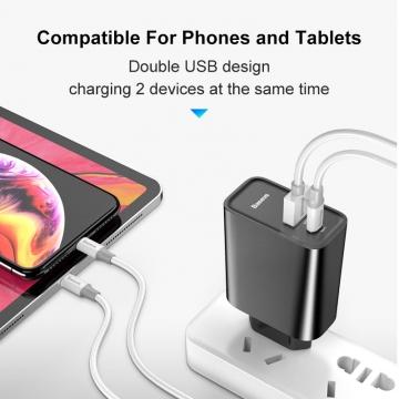 Сетевое зарядное устройство Baseus 30 Вт (USB + USB Type-C), негорючий пластик, поддержка одновременной зарядки двух устройств, быстрая зарядка Qualcomm Quick Charge 4.0 и USB Power Delivery 3.0 до 30 Вт, умная зарядка (автоматический подбор параметров зарядки для различных устройств), 6-уровневая защита от замыканий, перегрузок, перегрева и т. п., Киев