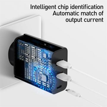 Сетевое зарядное устройство Baseus 60 Вт (USB + USB + USB Type-C), негорючий пластик, поддержка одновременной зарядки трёх устройств, быстрая зарядка Qualcomm Quick Charge 4+ и USB Power Delivery 3.0 до 60 Вт, умная зарядка (автоматический подбор параметров зарядки для различных устройств), 6-уровневая защита от замыканий, перегрузок, перегрева и т. п., Киев