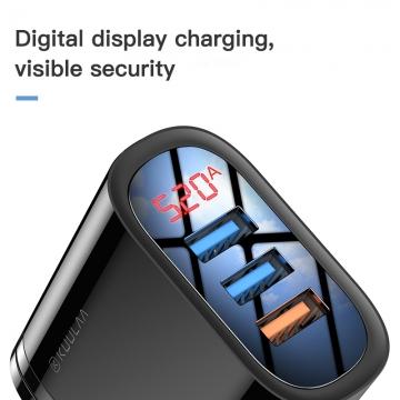 Сетевое зарядное устройство KUULAA (USB + USB + USB) с дисплеем, негорючий пластик, одновременная зарядка трёх устройств, быстрая зарядка Qualcomm Quick Charge 3.0, умная зарядка (автоматический подбор параметров зарядки для различных устройств), дисплей с попеременным отображением напряжения и силы тока зарядки, 9-уровневая защита от замыканий, перегрузок, перегрева, Киев