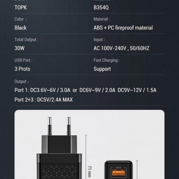 Сетевое зарядное устройство TOPK (USB + USB + USB), негорючий пластик, одновременная зарядка трёх устройств, быстрая зарядка Qualcomm Quick Charge 3.0, умная зарядка (автоматический подбор параметров зарядки для различных устройств), 9-уровневая защита от замыканий, перегрузок, перегрева, Киев