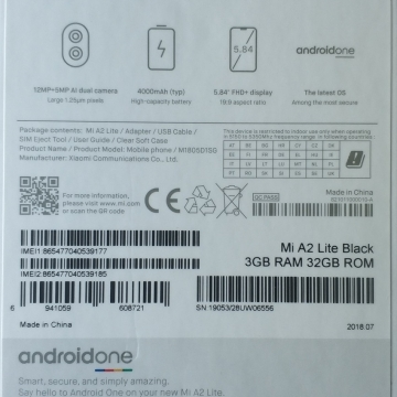Смартфон Xiaomi Mi A2 Lite (3 + 32 Гб), алюминиевый корпус, 2 SIM-карты, 4G LTE, Snapdragon 625, 3 Гб RAM, 32 Гб ROM, экран 5,84'' IPS 2280 * 1080, 19:9, 2,5D, двойная основная камера 12 MP + 5 MP, аккумулятор 4000 мА/ч, сканер отпечатков пальцев, Wi-Fi, Bluetooth 4.2, GPS, OTG, инфракрасный порт, Android One, Android 8.1, Киев