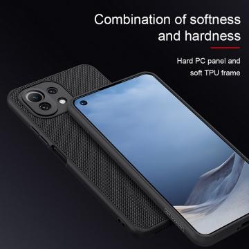 Текстурированный чехол-накладка Nillkin для смартфона Xiaomi Mi 11 Lite / Xiaomi Mi 11 Lite 5G / Xiaomi Mi 11 Youth Edition, textured case, противоударный бампер, рифлёный пластик с нейлоновым волокном, рама из термополиуретана, логотип Nillkin, двойное отверстие для крепления ремешка, чёрный, Киев