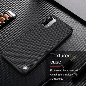 Текстурированный чехол-накладка Nillkin для смартфона Xiaomi Redmi Note 9 4G (China) / Xiaomi Redmi 9T / Xiaomi Redmi 9 Power, textured case, противоударный бампер, рифлёный пластик с нейлоновым волокном, рама из термополиуретана, логотип Nillkin, двойное отверстие для крепления ремешка, чёрный, Киев