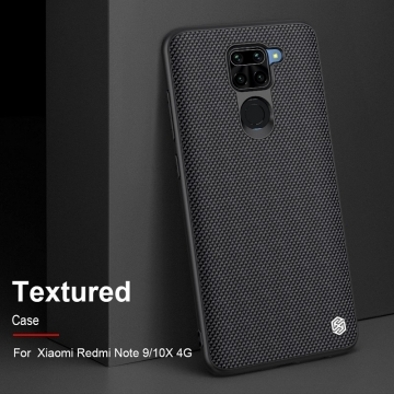 Текстурированный чехол-накладка Nillkin для смартфона Xiaomi Redmi Note 9 / Xiaomi Redmi 10X 4G, textured case, противоударный бампер, рифлёный пластик с нейлоновым волокном, рама из термополиуретана, логотип Nillkin, двойное отверстие для крепления ремешка, чёрный, Киев