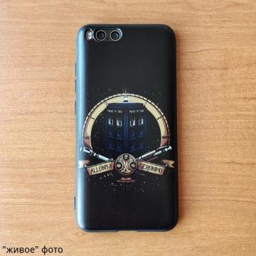 Тематический чехол «Доктор Кто» для Xiaomi Mi6, чехол на тему сериала Doctor Who, термополиуретан, накладки на кнопки регулировки громкости, двойное отверстие для крепления ремешка, чёрный с рисунком, Киев