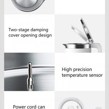 Умный электрический чайник Xiaomi MiJia Smart Electric Kettle Pro, MJHWSH02YM, двойной слой нержавеющей стали AISI 304, управление при помощи программы Mi Home (bluetooth), поддержание температуры до 12 часов, сенсорные клавиши включения / выключения, дисплей с отображением температуры, термостат Strix (Великобритания), термодатчики Shibaura (Япония), тройная защита от поражения электрическим током, защита от включения чайника без воды, LED индикатор, 1,5 л, 1800 Вт, белый, Киев