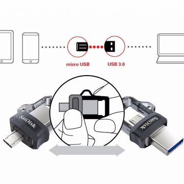 USB – microUSB OTG флешка SanDisk (32 Гб), MicroUSB OTG flash drive, телескопический слайдер, USB 3.0, мультисистемная совместимость, программа для управления контентом SanDisk Memory Zone App, Киев