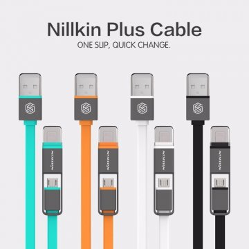 Кабель Nillkin Plus (USB – microUSB / Lightning) для Android и Apple, кабель «два в одном», бескислородная медь и оплётка из термопластичного эластомера, плоский кабель, 5 V / 2,1 A, 1,2 м, чёрный, белый, оранжевый, зелёный, Киев