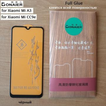 Защитное стекло Bonaier (3D Full Glue) для смартфона Xiaomi Mi A3 / Xiaomi Mi CC9e (простая упаковка), бронированное стекло, клеится к экрану смартфона всей поверхностью, 9H, не влияет на чувствительность сенсора, не искажает цвета, антибликовое покрытие, олеофобное покрытие, стекло с закруглёнными краями 2.5D, 2,5D, 3D, 5D, 6D, прозрачное с чёрной или белой рамкой, набор для подклеивания краёв защитного стекла, Киев