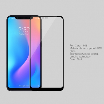 Защитное стекло Nillkin 3D CP+Max (Full Glue) для смартфона Xiaomi Mi8, закалённое стекло, бронированное стекло, клеится к экрану смартфона всей поверхностью, 9H, толщина 0,33 мм, не влияет на чувствительность сенсора, не искажает цвета, антибликовое покрытие, олеофобное покрытие, стекло с закруглёнными краями 2.5D, 2,5D, 3D, 5D, 6D, прозрачное с чёрной или белой рамкой, liquid, Киев