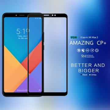 Защитное стекло Nillkin CP+ (3D Full Glue) для смартфона Xiaomi Mi Max 3, закалённое стекло, бронированное стекло, клеится к экрану смартфона всей поверхностью, 9H, толщина 0,2 мм, не влияет на чувствительность сенсора, не искажает цвета, антибликовое покрытие, олеофобное покрытие, стекло с закруглёнными краями 2.5D, 2,5D, 3D, 5D, 6D, прозрачное с чёрной или белой рамкой, liquid, Киев