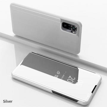 Зеркальный чехол-книжка-подставка Mirror Case для смартфона Xiaomi Redmi Note 10 / Xiaomi Redmi Note 10S, противоударный чехол, пластик + полиуретан, смарт-чехол (при открытии чехла экран включается), Kview Magic Mirror, возможность трансформации чехла в подставку для просмотра видео, чёрный, синий, фиолетовый, золотой, розовый, Киев