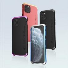 Чехол Element Case Solace (Element Box) для смартфона iPhone 11 Pro Max, противоударный бампер, корпус из поликарбоната, алюминиевые накладки, бампер состоит из трёх частей, скрученных четырьмя винтиками, в комплект входит отвёртка и 2 запасных винтика, резиновые прокладки на внутренней поверхности рамы для защиты корпуса смартфона, встроенные кнопки регулировки громкости, фабричная упаковка, Киев
