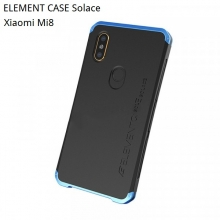 Чехол Element Case Solace для смартфона Xiaomi Mi8, корпус из поликарбоната, алюминиевые накладки, бампер состоит из трёх частей, скрученных четырьмя винтиками, в комплект входит отвёртка и 2 запасных винтика, резиновые прокладки на внутренней поверхности рамы для защиты корпуса смартфона со встроенными кнопками регулировки громкости и включения / выключения, фабричная упаковка, Киев