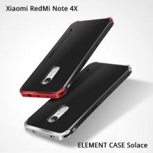 Чехол Element Case Solace для смартфона Xiaomi RedMi Note 4X, корпус из поликарбоната, алюминиевые накладки, бампер состоит из трёх частей, скрученных четырьмя винтиками, в комплект входит отвёртка и 2 запасных винтика, резиновые прокладки на внутренней поверхности рамы для защиты корпуса смартфона со встроенными кнопками регулировки громкости и включения / выключения, фабричная упаковка, Киев