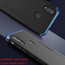 Чехол Element Case Solace для смартфона Xiaomi Redmi Note 7 / Redmi Note 7 Pro, противоударный бампер, корпус из поликарбоната, алюминиевые накладки, бампер состоит из трёх частей, скрученных четырьмя винтиками, в комплект входит отвёртка и 2 запасных винтика, резиновые прокладки на внутренней поверхности рамы для защиты корпуса смартфона со встроенными кнопками регулировки громкости и включения / выключения, фабричная упаковка, Киев