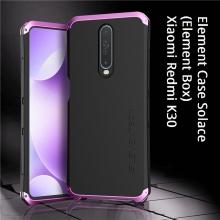 Чехол Element Case Solace (Element Box) для смартфона Xiaomi Redmi K30, противоударный бампер, корпус из поликарбоната, алюминиевые накладки, бампер состоит из трёх частей, скрученных четырьмя винтиками, в комплект входит отвёртка и 2 запасных винтика, резиновые прокладки на внутренней поверхности рамы для защиты корпуса смартфона, встроенные кнопки регулировки громкости, фабричная упаковка, Киев