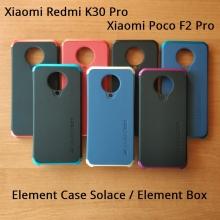 Чехол Element Case Solace Element Box для смартфона  Xiaomi Redmi K30 Pro / Xiaomi Poco F2 Pro, противоударный бампер, корпус из поликарбоната, алюминиевые накладки, бампер состоит из трёх частей, скрученных четырьмя винтиками, в комплект входит отвёртка и 2 запасных винтика, резиновые прокладки на внутренней поверхности рамы для защиты корпуса смартфона со встроенными кнопками регулировки громкости и включения / выключения, фабричная упаковка, Киев