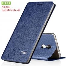 Чехол-книжка MOFI для смартфона Xiaomi RedMi Note 4X, противоударный чехол, горизонтальный флип, силиконовая накладка, флип из искусственной кожи, металлическая пластина внутри флипа, возможность трансформации чехла в подставку для просмотра видео, чёрный, синий, золотой, серебряный, розовый, Киев