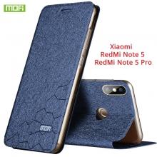 Чехол-книжка MOFI для смартфона Xiaomi RedMi Note 5 / RedMi Note 5 Pro, противоударный чехол, горизонтальный флип, силиконовая накладка, флип из искусственной кожи, металлическая пластина внутри флипа, возможность трансформации чехла в подставку для просмотра видео, чёрный, синий, золотой, розовый, Киев