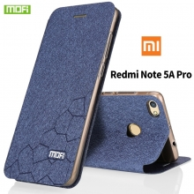 Чехол-книжка MOFI для смартфона Xiaomi RedMi Note 5A Prime (Pro), противоударный чехол, горизонтальный флип, силиконовая накладка, флип из искусственной кожи, металлическая пластина внутри флипа, возможность трансформации чехла в подставку для просмотра видео, чёрный, синий, золотой, серебряный, розовый, Киев