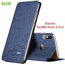 Чехол-книжка MOFI для смартфона Xiaomi RedMi Note 6 Pro, противоударный чехол, горизонтальный флип, силиконовая накладка, флип из искусственной кожи, металлическая пластина внутри флипа, возможность трансформации чехла в подставку для просмотра видео, чёрный, синий, золотой, розовый, красный, Киев