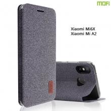 Чехол-книжка MOFI (Fabric Flip Case) для смартфона Xiaomi Mi6X / Xiaomi Mi A2, горизонтальный флип, силиконовая накладка, поверхность с тканевым покрытием, металлическая пластина внутри флипа, смарт-чехол (при закрытии чехла экран выключается), логотип «MOFI», возможность трансформации чехла в подставку для просмотра видео, чёрный, серый, коричневый, Киев