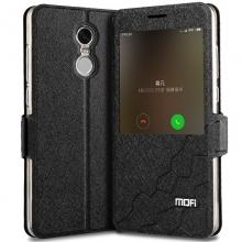 Чехол-книжка MOFI со смарт-окном для Xiaomi RedMi Note 4X, силиконовая накладка, флип из искусственной кожи, смарт-чехол (при закрытии чехла экран выключается), смарт-окно на флипе, магнитная защёлка, возможность трансформации чехла в подставку для просмотра видео, чёрный, золотой, Киев