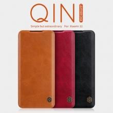 Чехол-книжка Nillkin (серия Qin) для смартфона Xiaomi Mi 11, смарт-чехол, чехол-книжка, противоударный чехол, горизонтальный флип, пластик, искусственная кожа, PU, чёрный, коричневый, красный, Киев