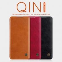 Чехол-книжка Nillkin (серия Qin) для смартфона Xiaomi Mi Note 10 Lite, смарт-чехол, чехол-книжка, противоударный чехол, горизонтальный флип, пластик, искусственная кожа, PU, чёрный, коричневый, красный, Киев