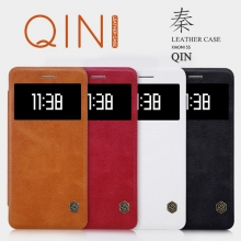 Чехол-книжка Nillkin (серия Qin) для смартфона Xiaomi Mi5S, смарт-чехол, чехол-книжка, горизонтальный флип, прямоугольное смарт-окно на флипе, пластик, искусственная кожа, PU, белый, чёрный, коричневый, красный, Киев