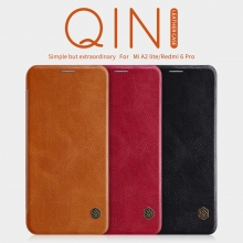 Чехол-книжка Nillkin (серия Qin) для смартфона Xiaomi Redmi 6 Pro / Xiaomi Mi A2 Lite, смарт-чехол, чехол-книжка, противоударный чехол, горизонтальный флип, пластик, искусственная кожа, PU, чёрный, коричневый, красный, Киев