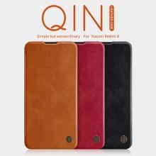 Чехол-книжка Nillkin (серия Qin) для смартфона Xiaomi Redmi 8, смарт-чехол, чехол-книжка, противоударный чехол, горизонтальный флип, пластик, искусственная кожа, PU, чёрный, коричневый, красный, Киев