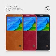 Чехол-книжка Nillkin (серия Qin) для смартфона Xiaomi RedMi Note 5 / RedMi Note 5 Pro, смарт-чехол, чехол-книжка, горизонтальный флип, пластик, искусственная кожа, PU, чёрный, коричневый, красный, Киев