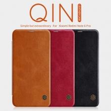 Чехол-книжка Nillkin (серия Qin) для смартфона Xiaomi RedMi Note 6 Pro, смарт-чехол, чехол-книжка, противоударный чехол, горизонтальный флип, пластик, искусственная кожа, PU, чёрный, коричневый, красный, Киев