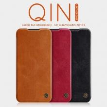 Чехол-книжка Nillkin (серия Qin) для смартфона Xiaomi Redmi Note 8, смарт-чехол, чехол-книжка, противоударный чехол, горизонтальный флип, пластик, искусственная кожа, PU, чёрный, коричневый, красный, Киев