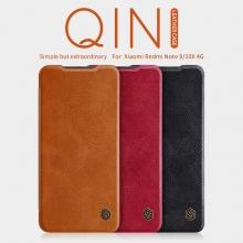 Чехол-книжка Nillkin (серия Qin) для смартфона Xiaomi Redmi Note 9 / Xiaomi Redmi 10X 4G, смарт-чехол, чехол-книжка, противоударный чехол, горизонтальный флип, пластик, искусственная кожа, PU, чёрный, коричневый, красный, Киев
