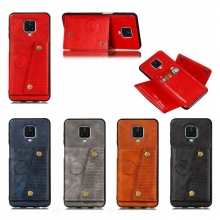 Чехол-накладка (бумажник + крепление к магниту) для Xiaomi Redmi Note 9 Pro / Xiaomi Redmi Note 9 Pro Max / Xiaomi Redmi Note 9S, противоударный бампер, пластик, термополиуретан, искусственная кожа, отделение для четырёх платёжных карт / визиток, возможность трансформации чехла в подставку для просмотра видео, двойное отверстие для крепления ремешка, металлический элемент для крепления к автомобильным магнитным держателям, чёрный, серый, синий, коричневый, красный, Киев