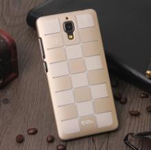 Чехол-накладка для смартфона Xiaomi Mi4, бампер, рифлёный прорезиненный пластик, дизайн в клетку, белый, золотой, Киев