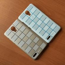 Чехол-накладка для смартфона Xiaomi RedMi Note, противоударный бампер, рифлёный прорезиненный пластик, дизайн в клетку, заглушка разъёма для подключения наушников с голубым кристаллом, белый, золотой, Киев