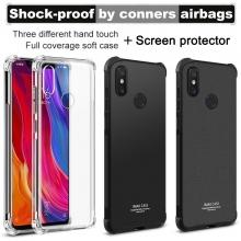Чехол-накладка iMak (Airbag Version) + плёнка для смартфона Xiaomi Mi8, противоударный бампер, силиконовый чехол, прозрачный термополиуретан, чёрный гладкий термополиуретан, чёрный шероховатый термополиуретан, TPU, логотип «iMak», накладки на кнопки регулировки громкости и включения / выключения, дополнительная защита углов смартфона «воздушными подушками», защитная плёнка повышенной прочности, Киев