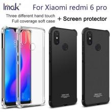 Чехол-накладка iMak (Airbag Version) + плёнка для смартфона Xiaomi Redmi 6 Pro / Xiaomi Mi A2 Lite, противоударный бампер, силиконовый чехол, прозрачный термополиуретан, чёрный гладкий термополиуретан, чёрный шероховатый термополиуретан, TPU, логотип «iMak», накладки на кнопки регулировки громкости и включения / выключения, дополнительная защита углов смартфона «воздушными подушками», защитная плёнка повышенной прочности, Киев