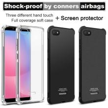 Чехол-накладка iMak (Airbag Version) + плёнка для смартфона Xiaomi Redmi 6A, противоударный бампер, силиконовый чехол, прозрачный термополиуретан, чёрный гладкий термополиуретан, чёрный шероховатый термополиуретан, TPU, логотип «iMak», накладки на кнопки регулировки громкости и включения / выключения, дополнительная защита углов смартфона «воздушными подушками», защитная плёнка повышенной прочности, Киев