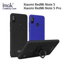 Чехол-накладка iMak (серия Cowboy Case) + плёнка для смартфона Xiaomi RedMi Note 5 / RedMi Note 5 Pro, противоударный бампер, шероховатый пластик, поликарбонат, защитная плёнка, съёмное кольцо для пальца, крючок для крепления в автомобиле, чёрный, синий, Киев